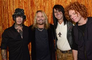 D.J. Ashba, Vince Neil, Michael Godard and Carrot Top at Vince Neil's Tatuado, Eat, Drink, Party on Tuesday, Nov. 5, 2013, at Circus Circus.