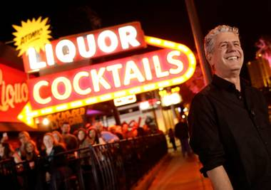 "Anthony Bourdain films his CNN series ""Parts Unknown"" at Atomic Liquors on Sunday, Nov. 10, 2013, in downtown Las Vegas."