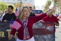 Sue Lowden, former Nevada state senator and candidate for lieutenant governor, waves during the annual Veterans Day parade Monday, Nov. 11, 2013, in downtown Las Vegas.