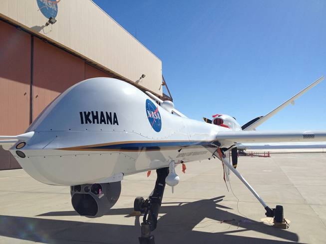 Ikhana the Predator drone waits for a mission at NASA's Dryden Flight Research Center at Edwards Air Force Base.
