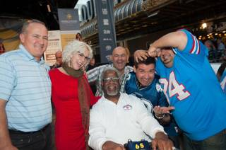 The 2013 World Food Championships Food Fight between three-time Super Bowl winner Bill Bates (in the blue-striped blue shirt) and NFL Hall of Famer Earl Campbell (in black glasses and a white shirt) on Saturday, Nov. 9, 2013, at Fremont Street Experience in downtown Las Vegas. Las Vegas chef Vic Vegas served as MC, and Campbell was the winner.