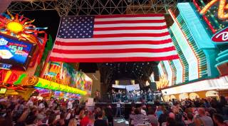 Salute to the Troops and a free concert by the Lt. Dan Band on Saturday, Nov. 9, 2013, at Fremont Street Experience in downtown Las Vegas.
