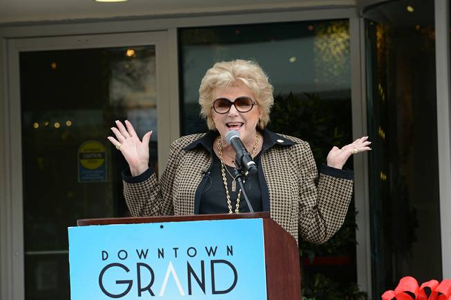 Mayor Carolyn G. Goodman speaks at the official ribbon-cutting ceremony of the Downtown Grand Las Vegas on Tuesday, Nov. 12, 2013, at 2:15 p.m., or (11/12/13/14/15).
