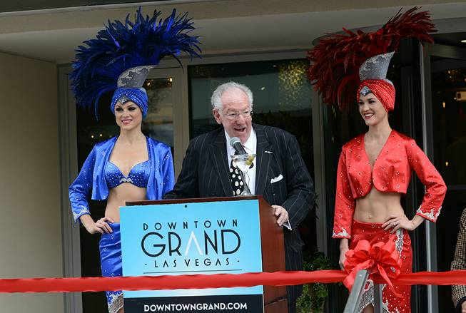 Former Mayor Oscar B. Goodman speaks at the official ribbon-cutting ceremony of the Downtown Grand Las Vegas on Tuesday, Nov. 12, 2013, at 2:15 p.m., or (11/12/13/14/15).