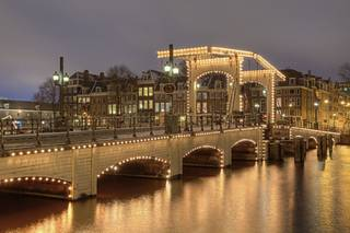 The bridge Magere Brug in Amsterdam, Netherlands.