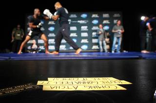 Blocking tape for David Copperfield's show later is seen during the publicity workout for UFC 167 Wednesday, Nov. 13, 2013 at the MGM Grand.