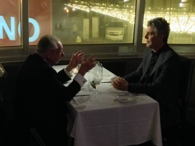 Oscar Goodman and Anthony Bourdain chat it up at Oscar's at the Plaza.