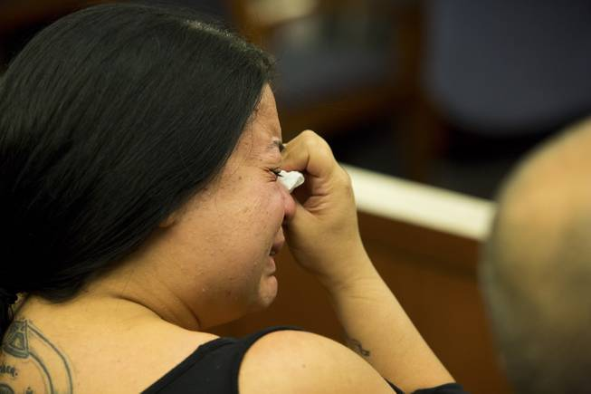 Sumer Hemming, sister-in-law to Misty Madera, reacts during a bail hearing for Sarah Anne Chavez on Friday, Nov. 15, 2013. Chavez, 22, is facing a first-degree murder charge in the stabbing death of Misty Madera, 30, outside Champagnes Cafe, 3557 S. Maryland Parkway, on Tuesday, Nov. 12, 2013.