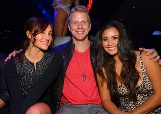 Sean Lowe, with Briana Evigan, left, and fiancee Catherine Giudici, celebrates his 30th birthday at 1OAK on Friday, Nov. 15, 2013, in the Mirage.