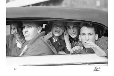 "The famous ""Kids in the Car"" photograph as seen in Ringo Starr's aptly titled book ""Photograph."""