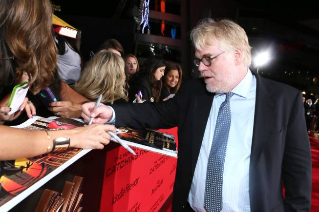 Philip Seymour Hoffman seen at Lionsgate's 'The Hunger Games: Catching Fire' Los Angeles Premiere, on Monday, Nov, 18, 2013 in Los Angeles.