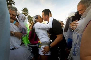 "A number of participants took the opportunity to say ""I do"" before crossing the marathon finish line."