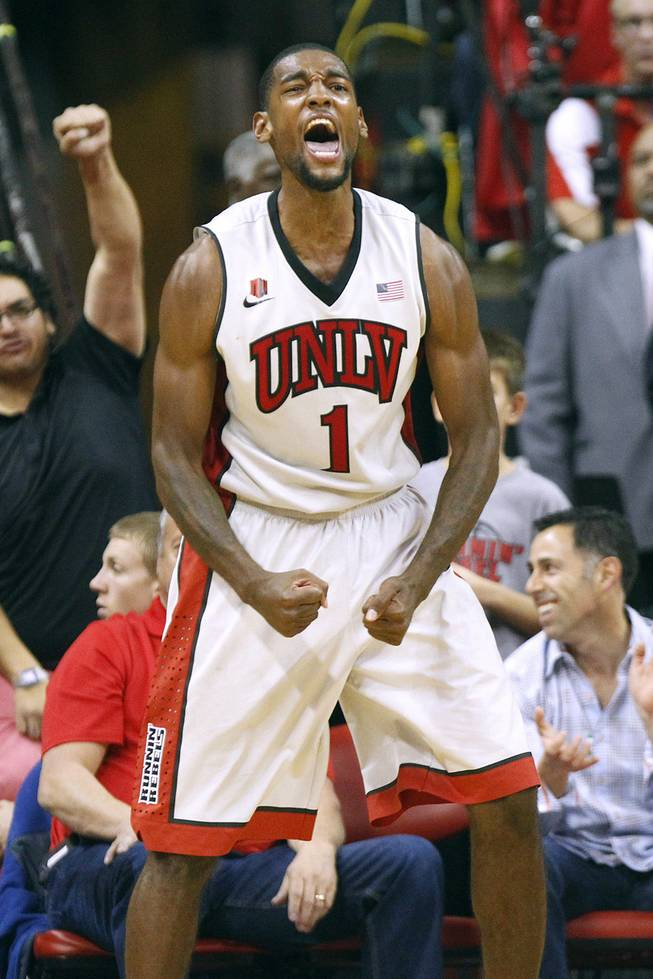 UNLV forward Roscoe Smith celebrates a play against Arizona State during their game Tuesday, Nov. 19, 2013 at the Thomas & Mack. Arizona State won the game 86-80.