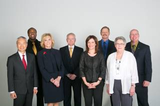 From left to right: Robert Young, Bruce Ford, Elaine Wynn, Dan D'Arrigo, Lisa Santwer, Bob Potts, Carla Sloan and Vince Alberta attend an End of The Year Business Roundtable with the Las Vegas Sun, Tuesday, Nov. 19, 2013.