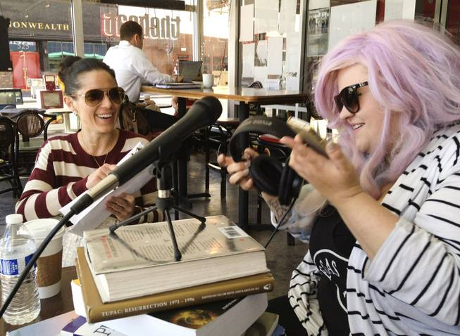 Daniella Capitano, left, Krissee Danger, right, on the radio for the Joe Downtown Show.