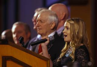 Las Vegas Academy student Hailey Atwell sings the National Anthem during the Mayors Prayer Breakfast 2013 at the Texas Station Gambling Hall & Hotel on Thursday, Nov. 21, 2013.  L.E. Baskow