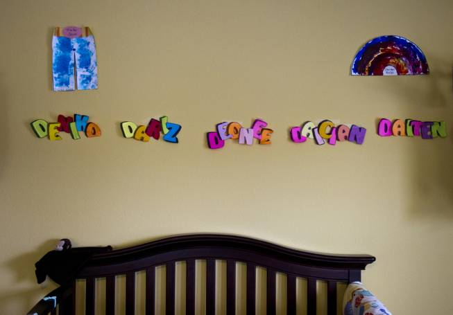 The names of the Derrico quintuplets are spelled out in their nursery in the family home on Monday, Nov. 22, 2013.