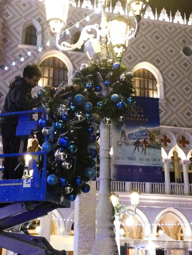 Ornaments are put up at the Venetian Macau.