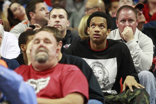Recruit Rashad Vaughn takes in the UNLV vs. Illinois game Tuesday, Nov. 26, 2013, at the Thomas & Mack Center. Illinois won the game 61-59.