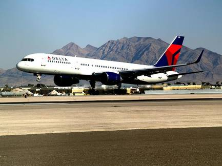 A Delta jet at McCarran International Airport.