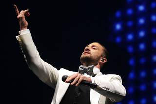 Justin Timberlake performs at the MGM Grand Garden Arena Friday, Nov. 29, 2013.
