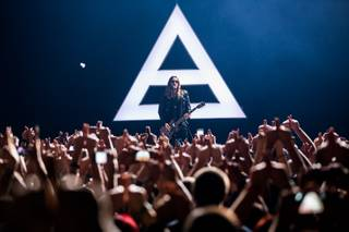 Thirty Seconds to Mars, with frontman Jared Leto, performs at the Joint in Hard Rock Hotel Las Vegas on Saturday, Nov. 30, 2013, as the headliner of X107.5 Holiday Havoc.