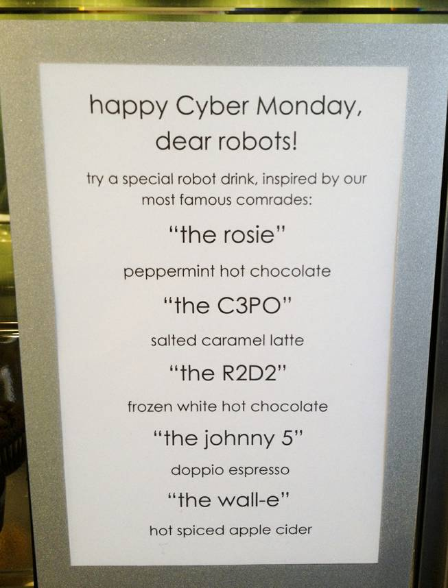The cafe specialty drink menu at Zappos' headquarters in downtown Las Vegas on Cyber Monday, Dec. 2, 2013.