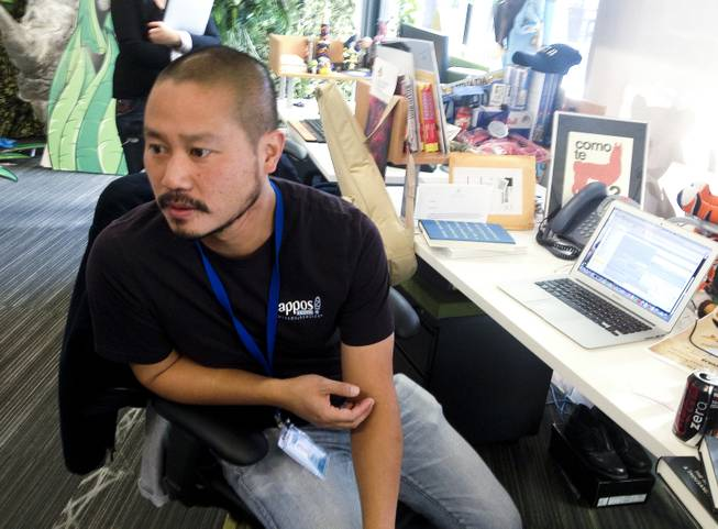 Tony Hsieh at Zappos' headquarters in downtown Las Vegas on Cyber Monday, Dec. 2, 2013.