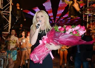 Britney Spears celebrates her official arrival at Planet Hollywood on Tuesday, Dec. 3, 2013.