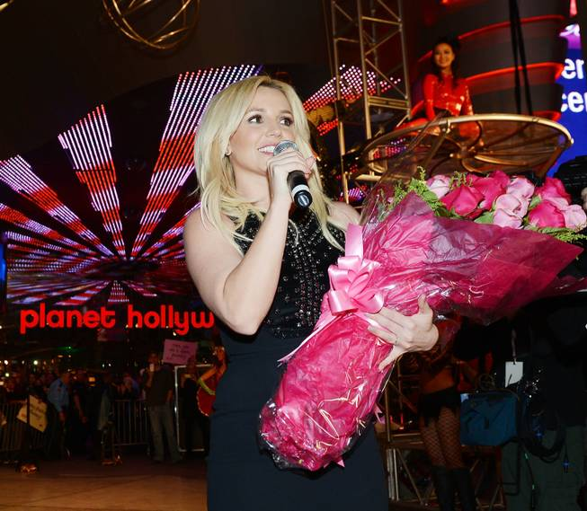 Britney Spears celebrates her official arrival at Planet Hollywood on ...
