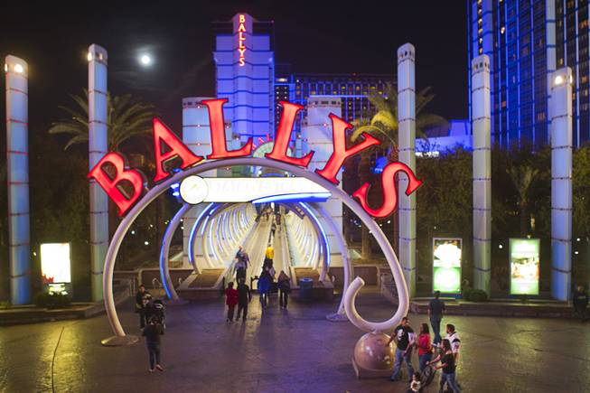 A view of the front of Bally's on the Las Vegas Strip is shown Nov. 17, 2013. The area will be remodeled into the Grand Bazaar Shops, an outdoor retail mall. Construction began the week of Dec. 2, 2013, and the mall is scheduled to open in fall 2014.