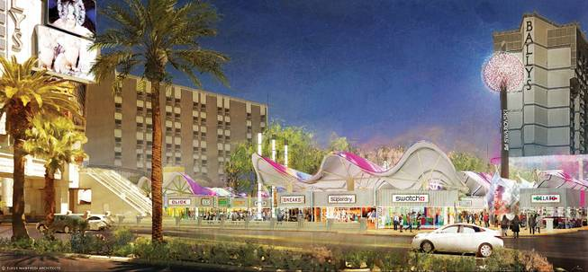 An artist's rendering shows Grand Bazaar Shops, an outdoor mall on the Strip.  Construction on the Grand Bazaar Shops began the week of Dec. 2, 2013, and it is scheduled to open outside Bally's in fall 2014.