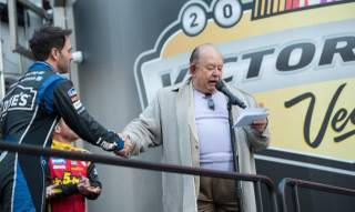 Jimmie Johnson and Robin Leach at the Victory Lap for 2013 NASCAR Champion's Week on Thursday, Dec. 5, 2013, on the Strip in Las Vegas.