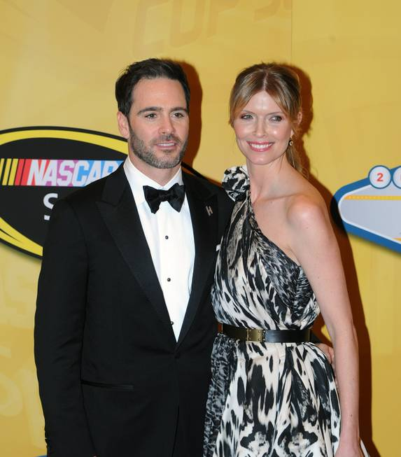 Six-time NASCAR champion Jimmie Johnson and his wife, Chandra, arrive ...