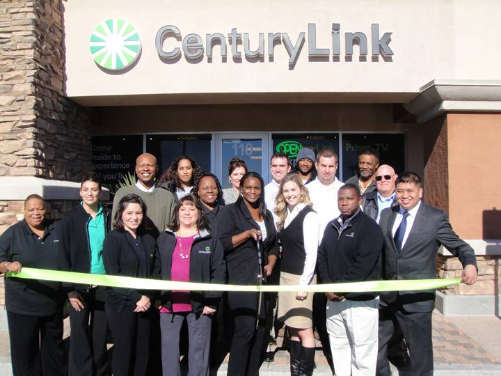 CenturyLink employees participate in a ribbon cutting ceremony during the launch of CenturyLink's gigabit fiber service at the new retail store at 6592 N. Decatur Blvd #110, Las Vegas, NV on Thursday, Dec. 5.