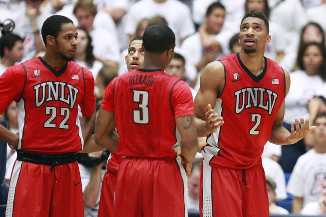 UNLV forward Khem Birch reacts after picking up his third foul in the first half of their game against Arizona at the McKale Center in Tucson Saturday, Dec. 7, 2013. Arizona won the game 63-58.
