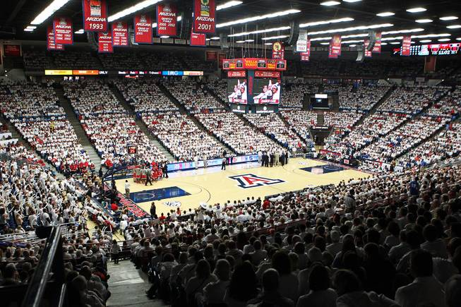 A sold out McKale Center watches UNLV take on Arizona in Tucson Saturday, Dec. 7, 2013. Arizona won the game 63-58.