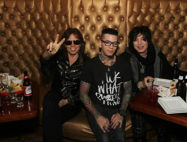 Joey Tempest, D.J. Ashba and Tom Keifer in the Gold Room at Vince Neil's Tatuado, Eat, Drink, Party in Circus Circus.