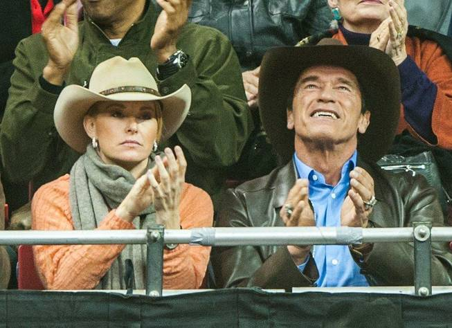 Arnold Schwarzenegger attends Round 5 of the 2013 Wrangler National Finals Rodeo on Monday, Dec. 9, 2013, at the Thomas & Mack Center at UNLV.