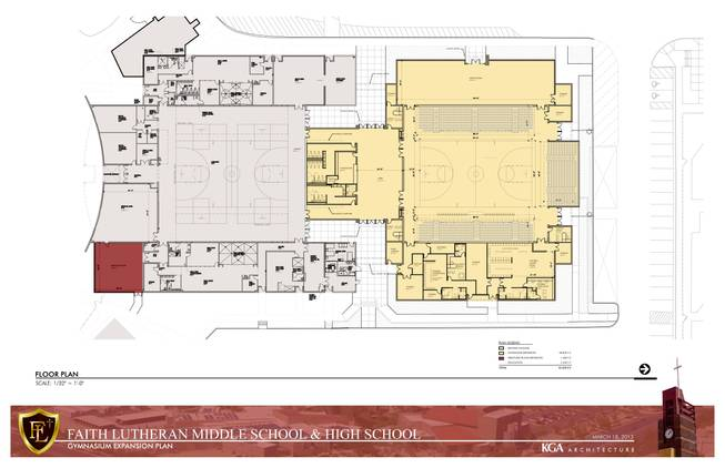 The new Faith Lutheran High School gym plan. The yellow area signifies the gymnasium expansion, the grey area signifies existing areas and the red area signifies the wrestling room expansion.