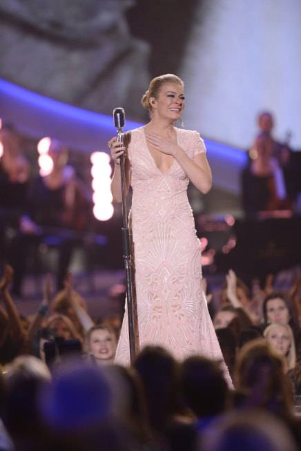 LeAnn Rimes is overcome with emotion after her tribute to Patsy Cline at the 2013 American Country Awards on Tuesday, Dec. 10, 2013, at Mandalay Bay Events Center in Las Vegas.