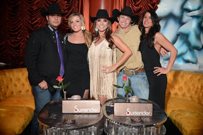 "Anthony Lucia, Jessica Holmberg, Darcy LaPier, Ty Murphy and Marvel Murphy at the ""Rodeo Girls"" party on Wednesday, Dec. 11, 2013, at Surrender in Encore."