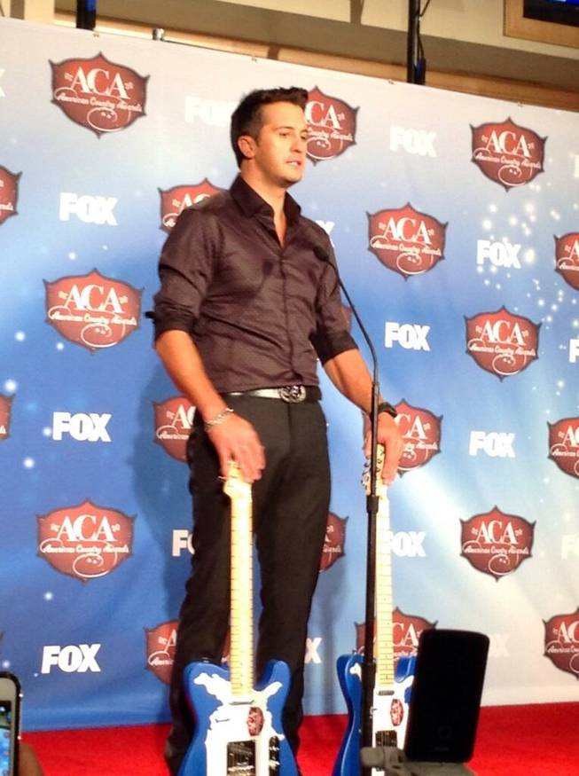 Luke Bryan backstage at the 2013 American Country Awards on Tuesday, Dec. 10, 2013, at Mandalay Bay Events Center.