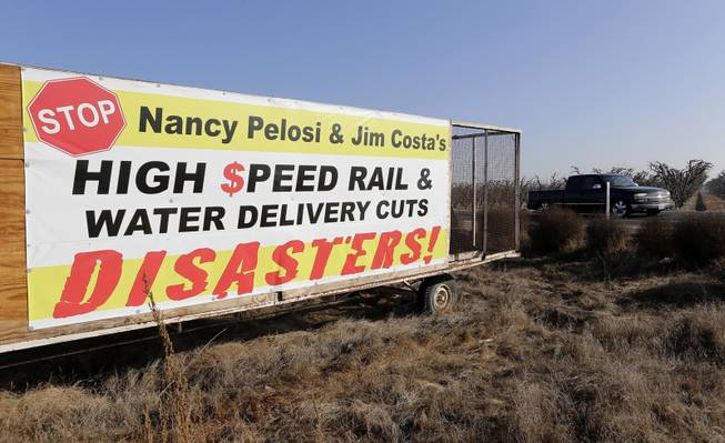 A sign along Hwy 43 displays opposition to California's high-speed rail in Hanford, Calif., Dec. 12, 2013. The state project would connect San Francisco to Los Angeles, but has many residents of Hanford worried that it may change their rural way of life.