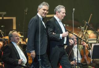 Andrea Bocelli, with music conductor Eugene Kohn, performs at MGM Grand Garden Arena on Saturday, Dec. 7, 2013.