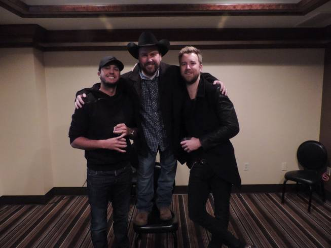 Luke Bryan, Rodney Carrington and Charles Kelley of Lady Antebellum on Thursday, Dec. 12, 2013, at MGM Grand.