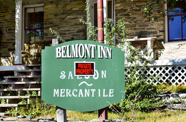 A private property sign is tacked to the front of the Belmont Inn and Saloon, which is closed to the public as the owner determines whether to further pursue government permits.