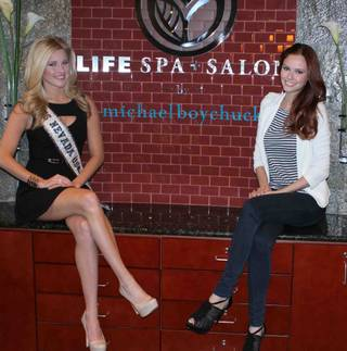 2013 Miss Nevada USA Chelsea Caswell and 2012 Miss USA Alyssa Campanella attend the 2014 Miss Nevada USA Pageant preliminary orientation on Saturday, Dec. 14, 2013, at Michael Boychuck's Life Spa + Salon in Summerlin.