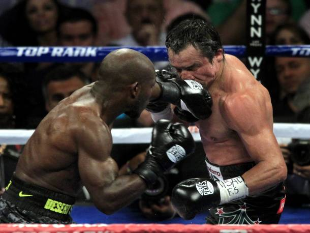 Timothy Bradley and a punch to the face of Juan Manuel Marquez during their recent fight on Oct.12, 2013.