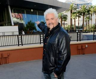 Guy Fieri at the construction site of his new restaurant Guy Fieri's Vegas Kitchen & Bar on Friday, Dec. 20, 2013, on the Strip.